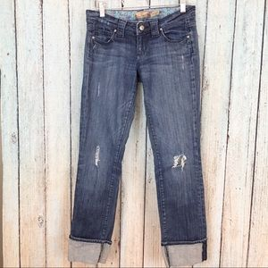 Paige Blue Heights Jeans Destroyed Cuffed Legs